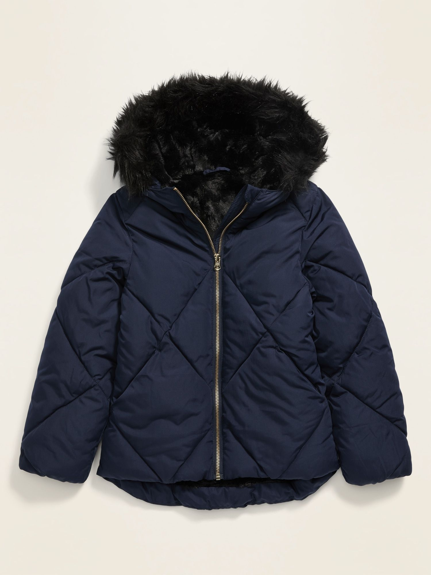 Old Navy Kids Frost Free Faux Fur Lined Hooded Puffer Jacket Lost At Sea Navy Size Xs Girls Jacket Womens Casual Outfits Faux Fur Hood [ 2000 x 1500 Pixel ]