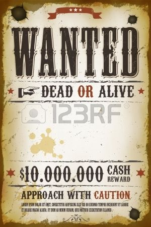 Illustration of a vintage old wanted placard poster template with - cash template