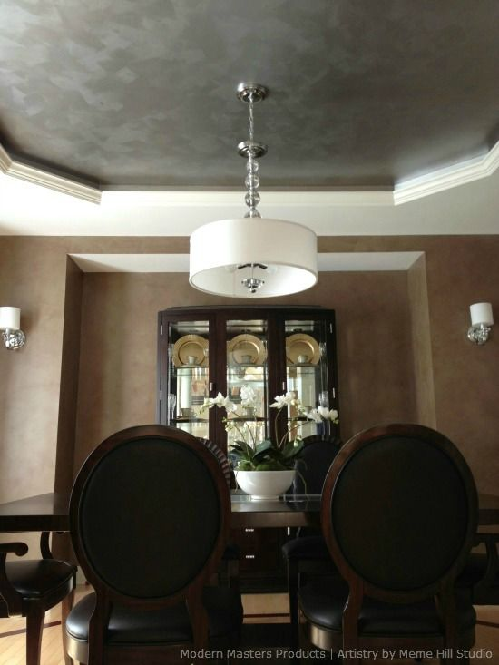 Modern Masters Metallic Paint And Glaze On Dining Room Ceiling And Walls Meme Hill Studio Dining Room Ceiling Silver Living Room Faux Walls