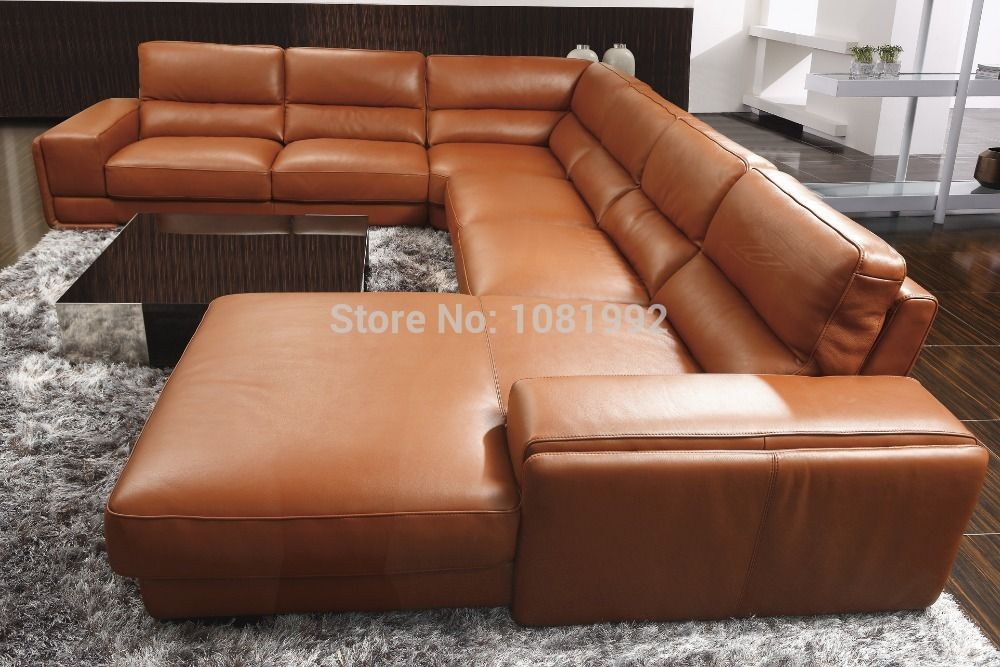 Cheap Sectional Sofa Leather Modern Feather 8006B