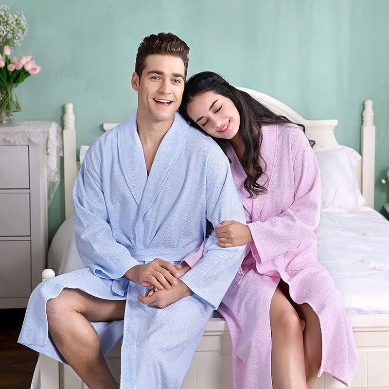 08df1879dc2 Waffle Bathrobe Women Cotton Soft Kimono Bath Robe Plus Size Sexy Peignoir  Dressing Gown Bridesmaid Robes Summer Autumn