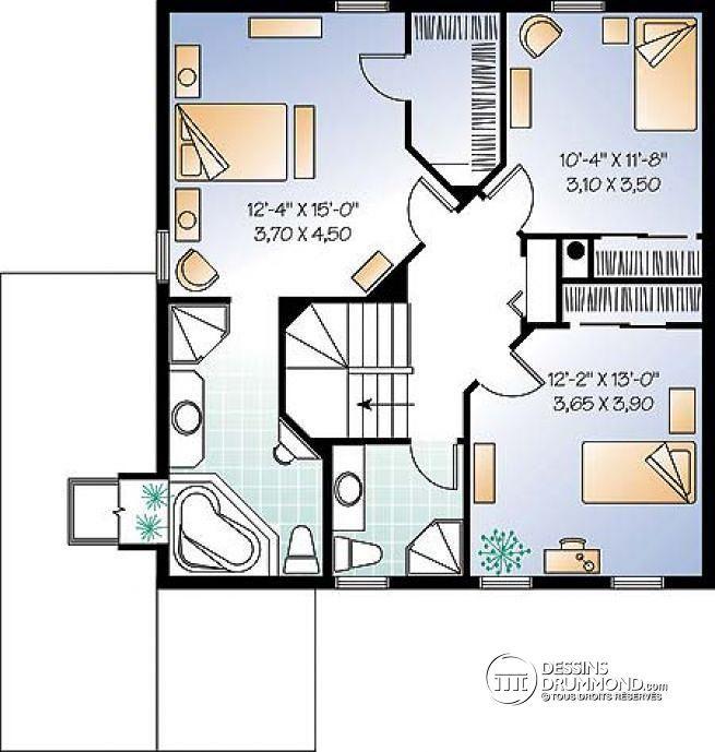 W3823 grande maison famille recompos e 3 chambres for Plan maison deux etages
