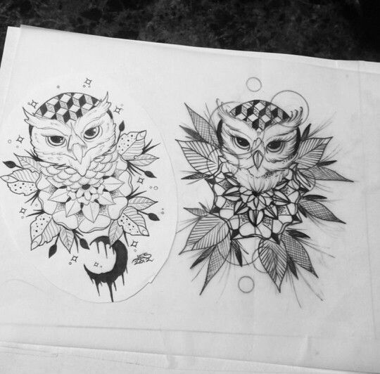 Lovely Black And White Owl And Mandala Flower Tattoo Design