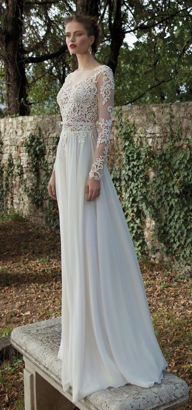 Long sleeves lace bodice column backless chiffon wedding dress