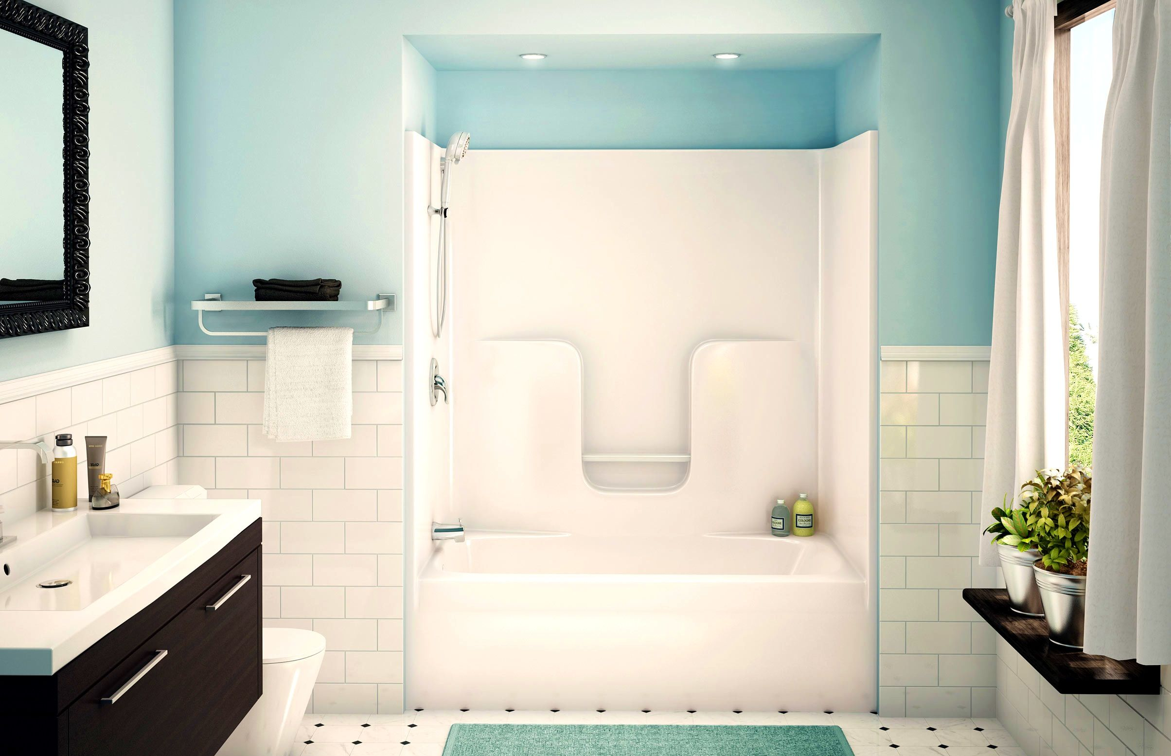 Bathroom:Pleasing Alcove Tub Showers Bathtub Aker Maax Shower Combo ...