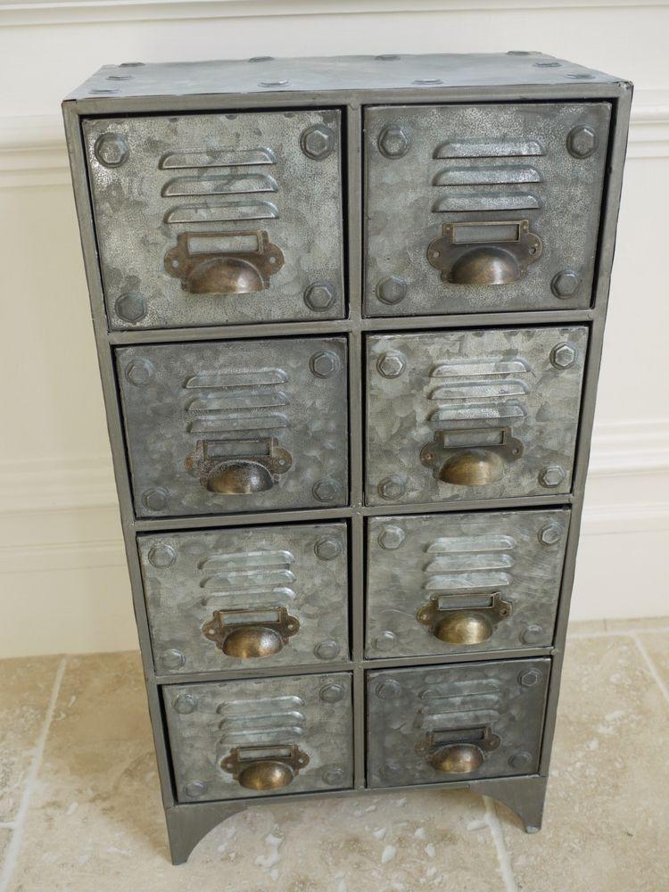 2 X Vintage Metal Retro Industrial Style Medium Chest Of Drawers Metal Cabinet Metal Storage Cabinets Diy Industrial Furniture
