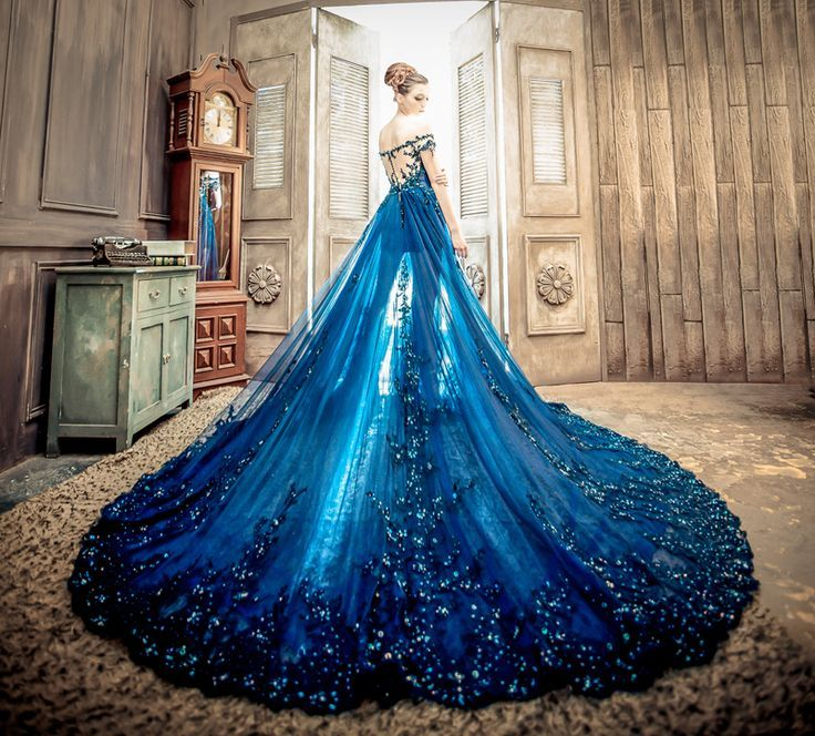 Long Blue Cape Wedding Dress Is To Die For The So Beautiful And