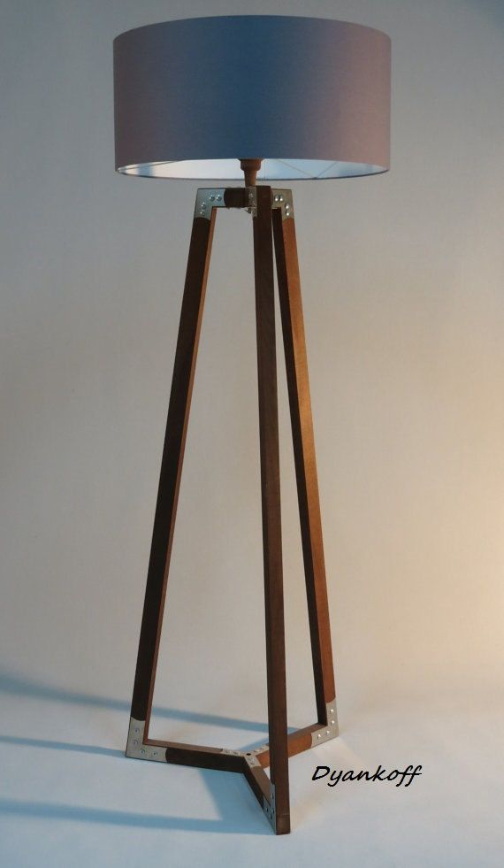 Handmade tripod floor lamp wooden stand in dark wood color with handmade tripod floor lamp wooden stand in dark wood color with metal elementsdrum lampshade different colors lampshademodel ivanina mozeypictures Image collections