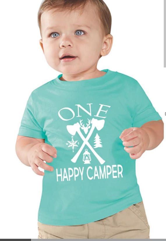 One Happy Camper First Birthday Shirt Boys Camping Theme Baby