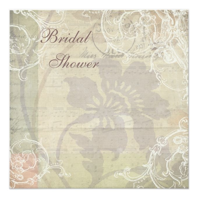 Vintage Pearls and Lace Floral Collage Bridal Shower 5.25x5.25 Square Paper Invitation Card