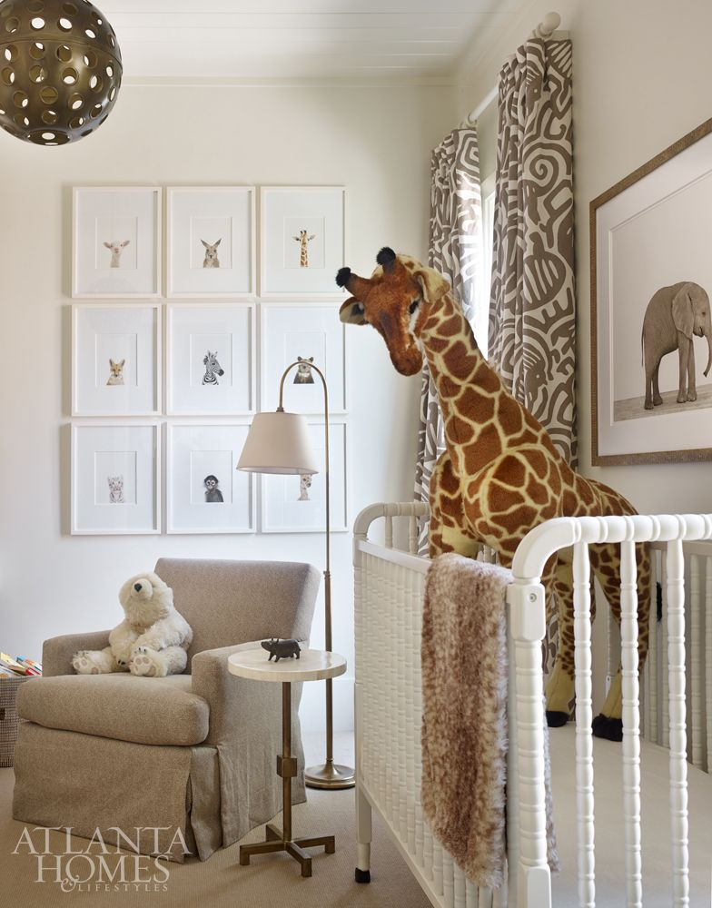 The safari inspired nursery pays homage to the son s for Curtain fabric for baby nursery