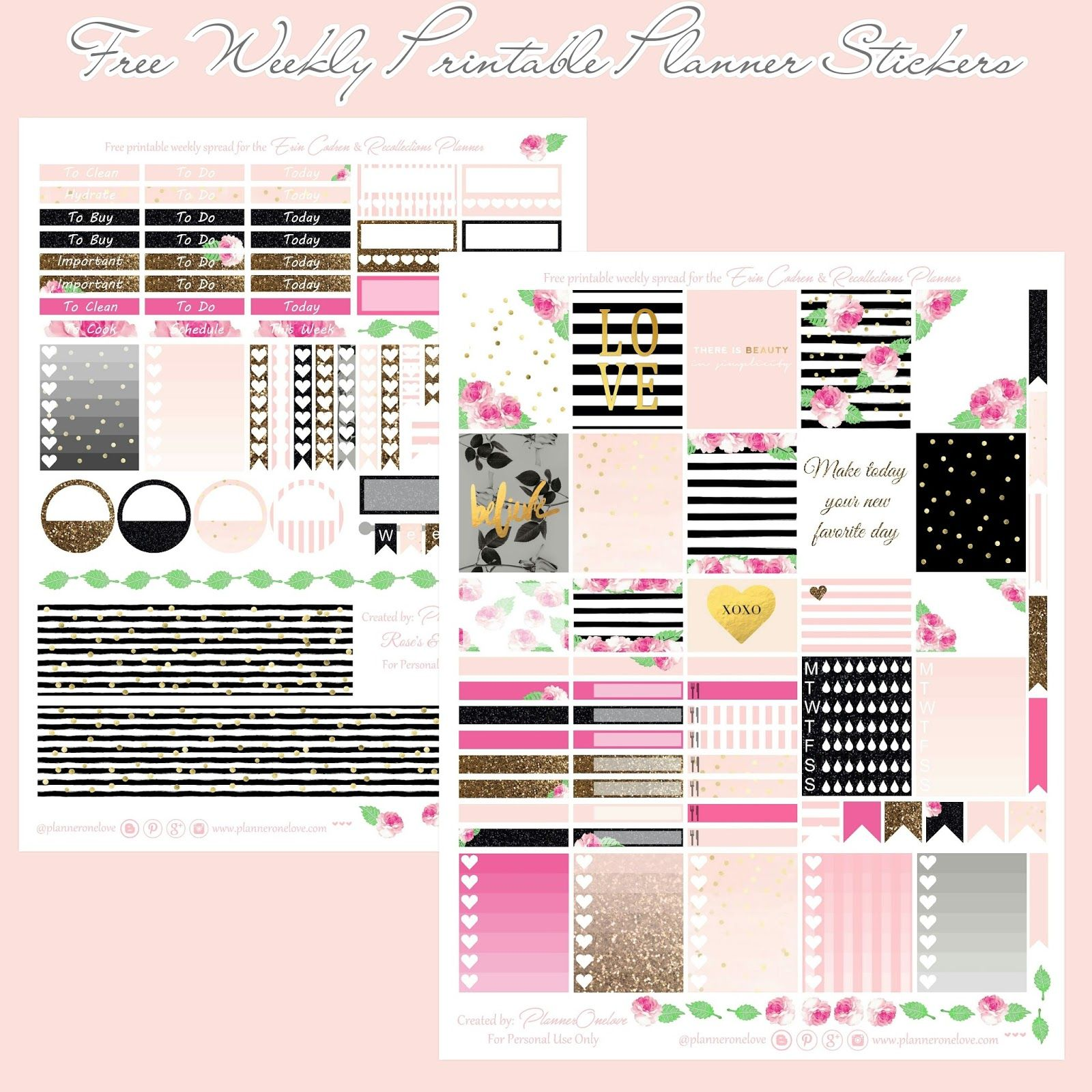 Free roses & stripes printable spread for Erin Condren & Recollections Planner - Planner Onelove
