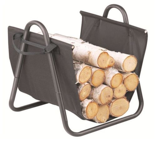 FreePost; WC01; 50cm H Fireplace Kindling Wood Rack Cradle; w Sling; Black