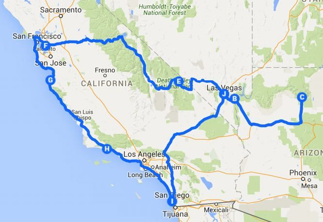 The perfect itinerary for a 10 day US West Coast road trip