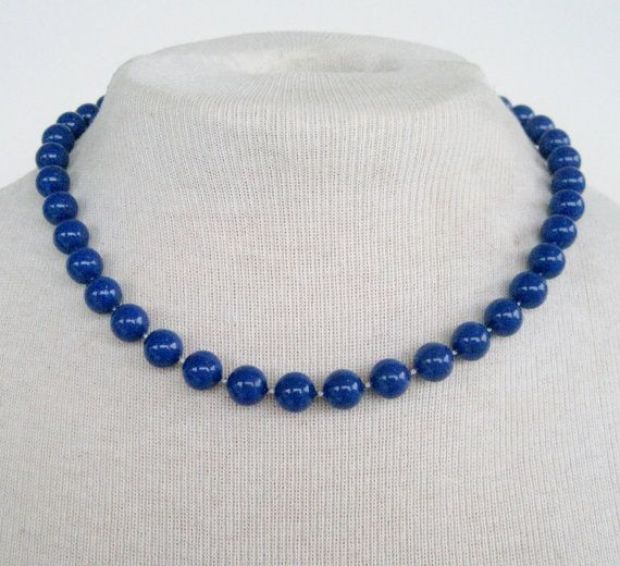 vintage 80s retro traditional dark purplish blue bead princess length necklace by 300