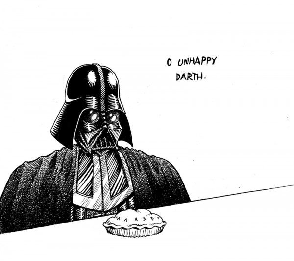Unhappy Darth Can't Eat Pie -- does Darth Vader EVER eat? #starwars