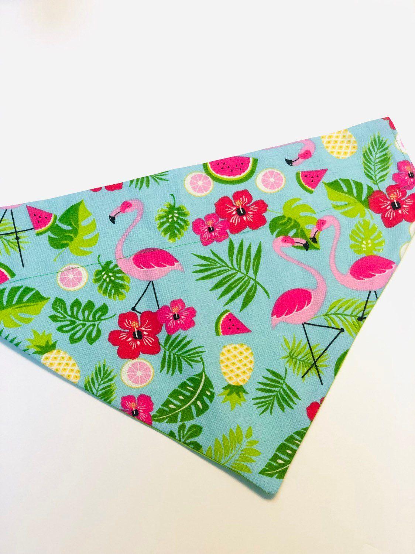 Flamingos/ pineapple/ flowers/ Dog bandana/ dogs/ pink