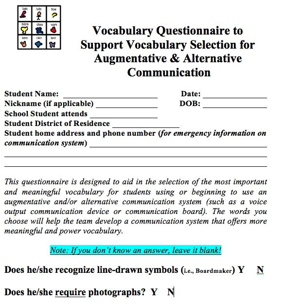 Vocabulary Questionnaire For Aac Vocabulary Selection That I