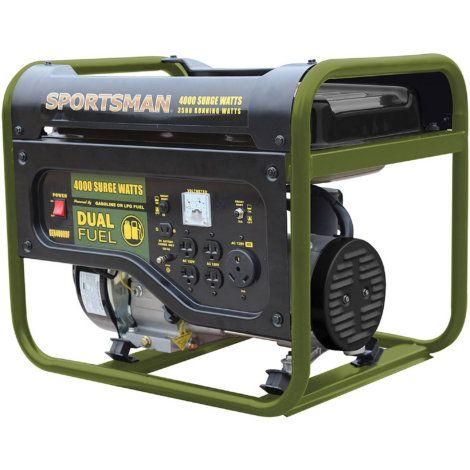 Sportsman 4 000 Watt Green Dual Fuel Powered Portable Generator By Sportsman Dual Fuel Generator Portable Generator Fleet Farm