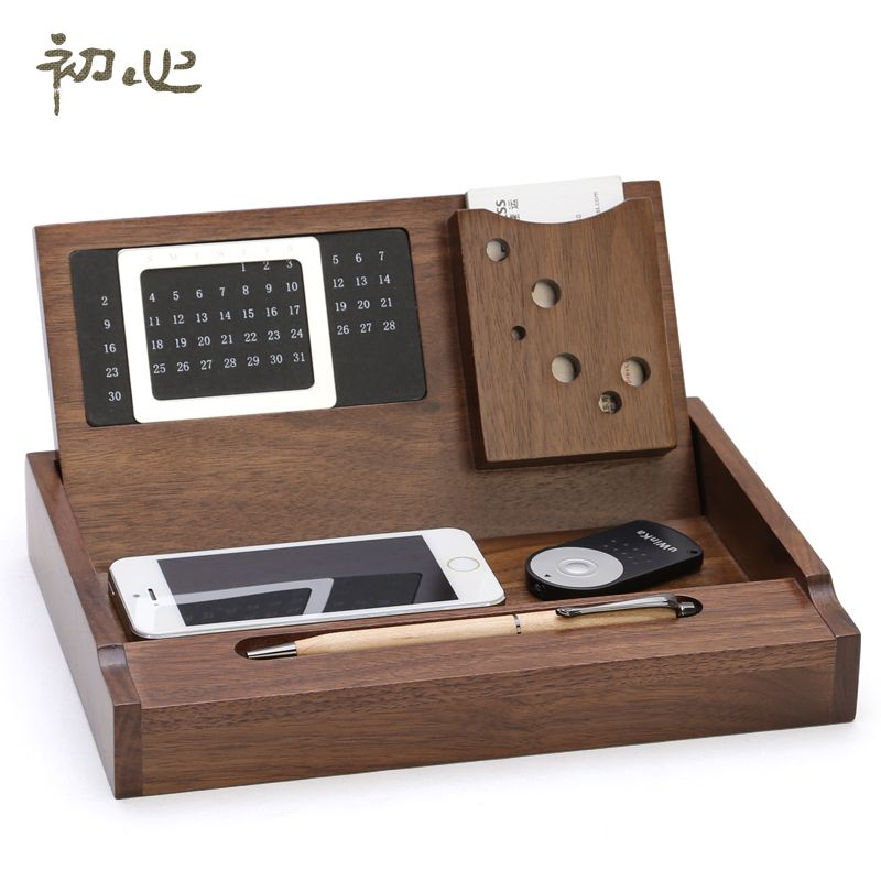 Luxury Office Storage Box Wooden Desktop Stationery Maple Organizer With Calendar Pen Loop Name Card