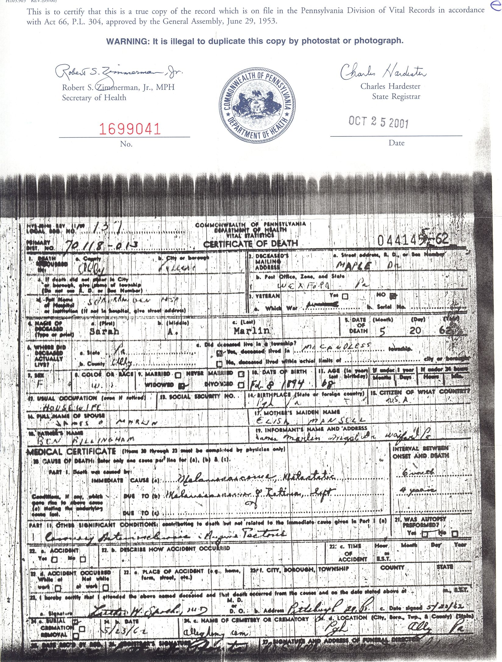 Sarah a marlin death certificate 1962 allegheny pa sarah a marlin death certificate 1962 allegheny pa xflitez Gallery