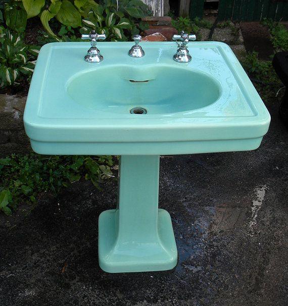 Vintage Sink Pedestal Green Cast Iron By Vintagechicfurniture 395 00 Vintage Sink Antique Bathroom Sink Green Sink