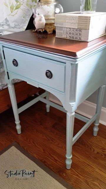 Bedside Sewing Table Barron By Niagara Furniture Painting. Country Chic  Paint In Ocean Breeze And