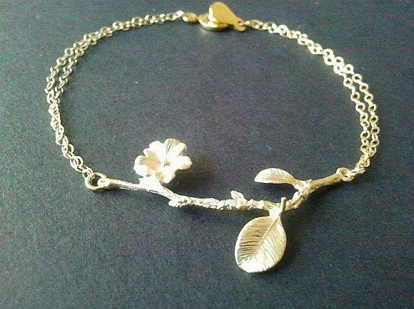 Flower with branch Gold Bracelet -  Wedding Gift, Bridal Gift, Best friend gift. $20.00, via Etsy.