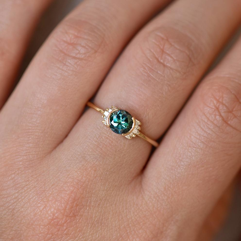 Teal Sapphire Ring with Baguette Diamond Wings Limited