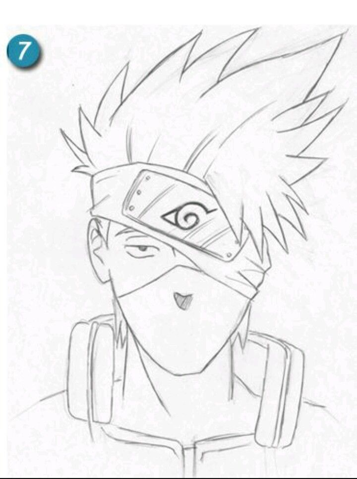 Kakashi Outline Naruto Sketch Kakashi Drawing Anime Sketch