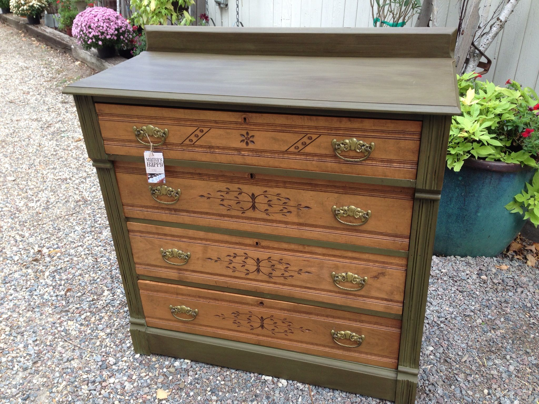 Spoon carved dresser painted with annie sloan chalk paint in olive