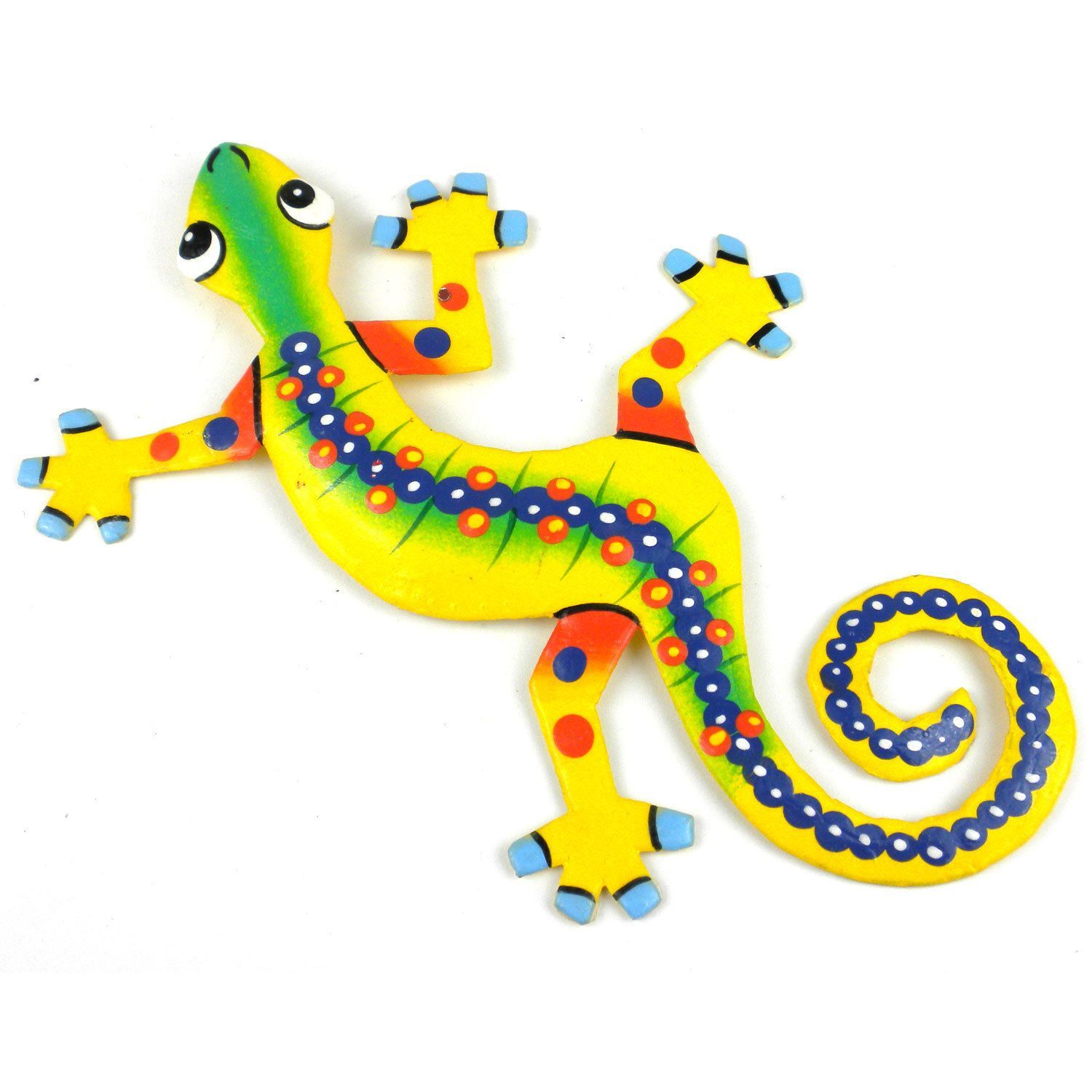 Global Crafts Hand Painted Eight Inch Metal \'Serpentine\' Gecko ...