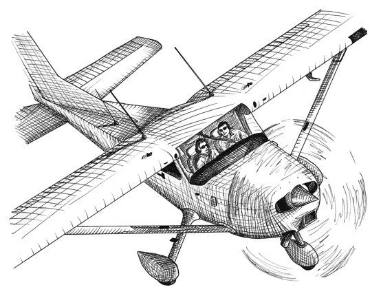 Business Meeting Aviation Airplane Drawing ACEO by rockplanet ...