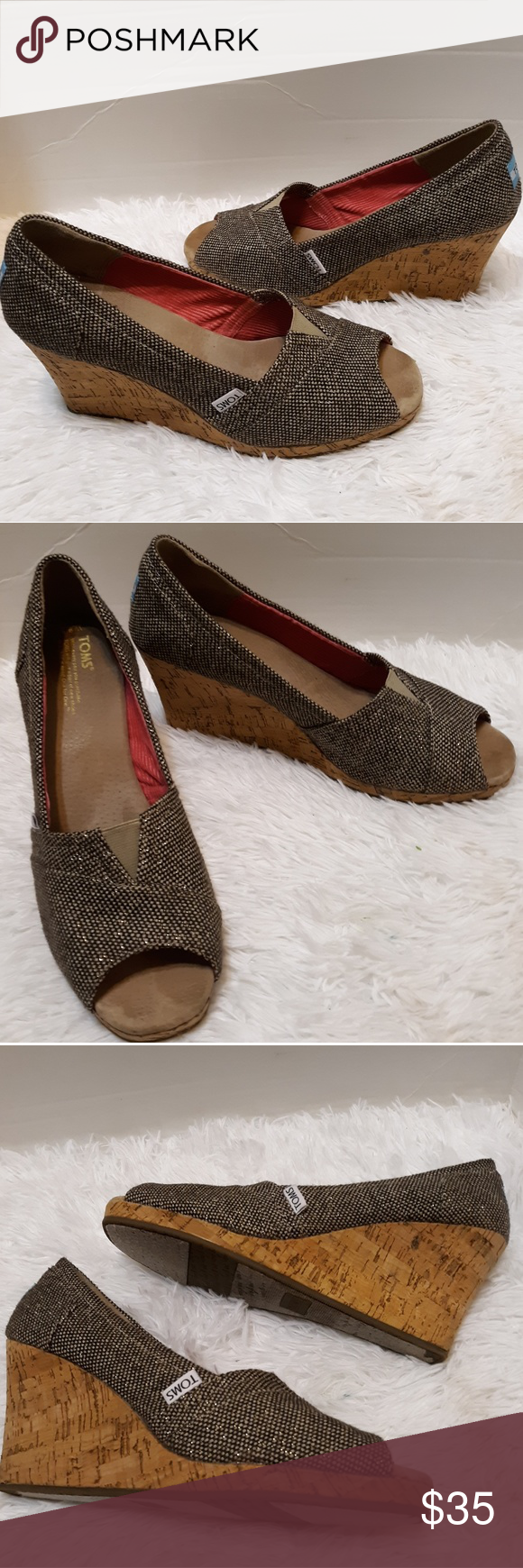 cd4aad34034 TOMS Stella wedge heels. Black tan and gold These are in great condition.  Minor wear on the bottom. They have only been worn a handful of times.