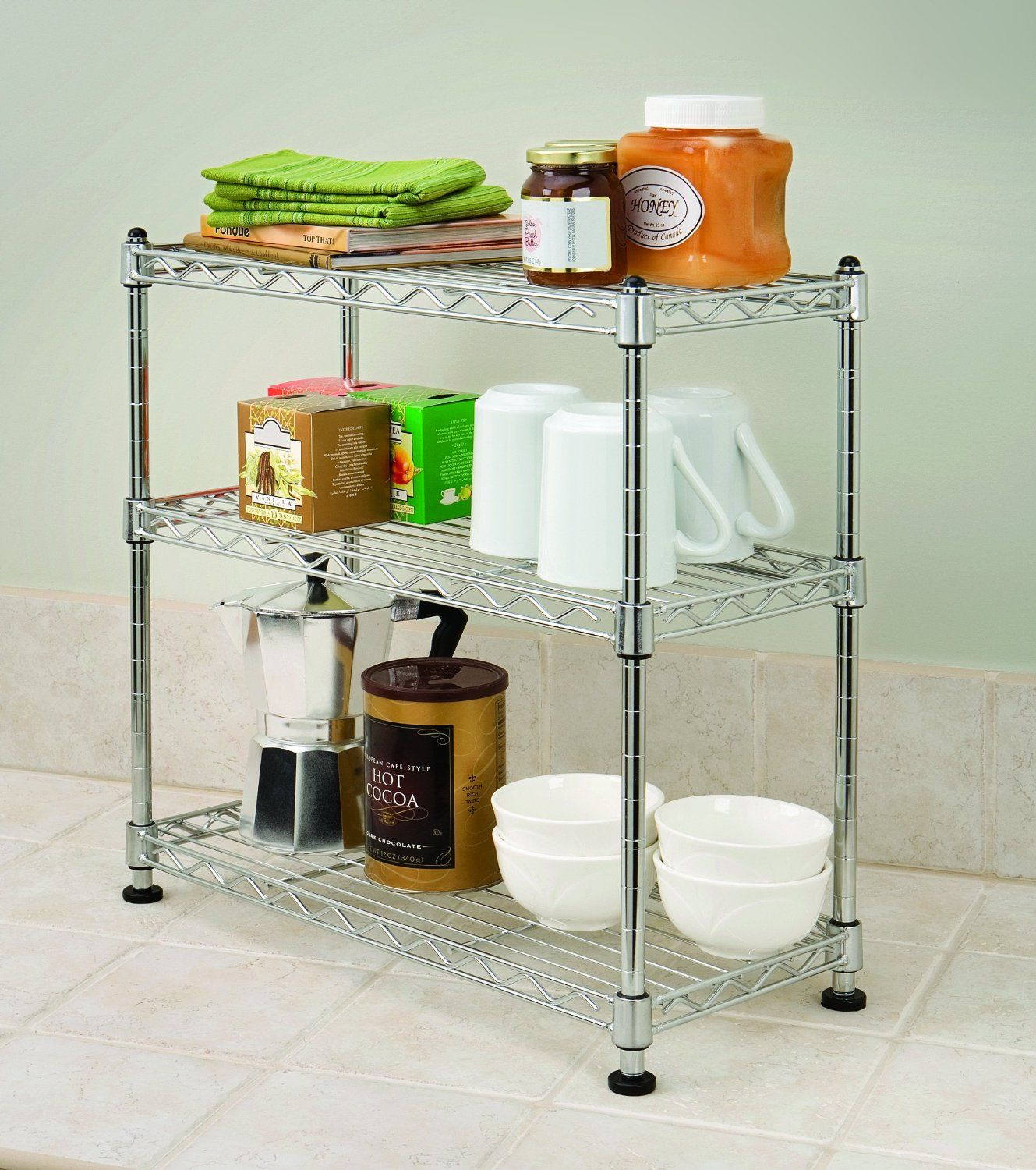Amazon.com - Seville Classics 3 Shelf Cabinet Organizer, 17.5 by 7.5 by 18.5-Inch, Steel Wire - Cabinet Accessories