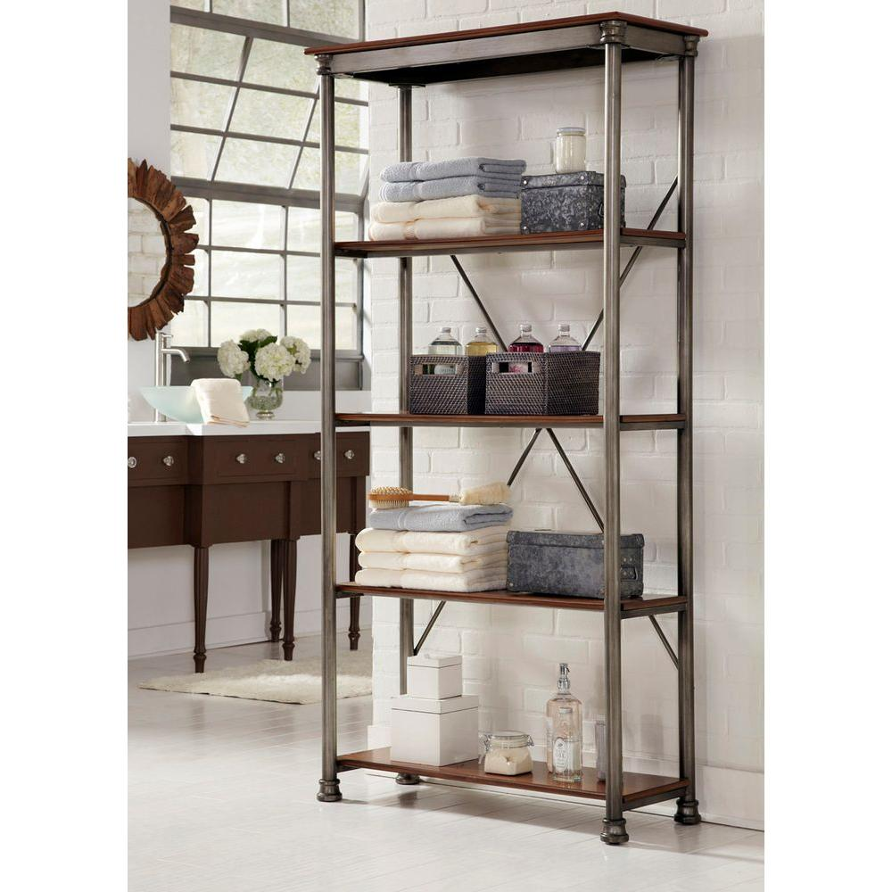 Homestyles Five Shelf 38 In W X 76 In H X 16 In D Wood And Steel Orleans Shelving Unit 5061 76 The Home Depot Home Styles Home Bookcase