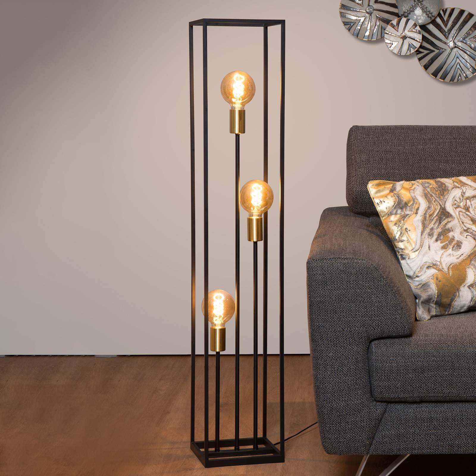 Moderne Stehlampe Ruben Von Lucide Schwarz Stehlampe Wohnzimmer