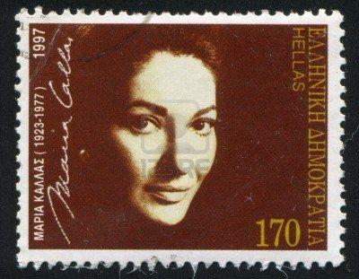 GREECE - CIRCA 1997: stamp printed by Greece, shows Maria Callas, Opera Singer, circa 1997 Stock Photo