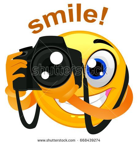 vector illustration of a smiley emoticon photographer