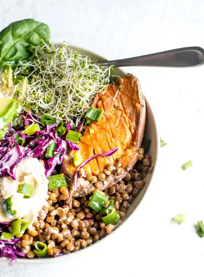 Avocado Sweet Potato Buddha Bowls Recipe In 2021 Vegan Meal Prep Meal Prep Clean Eating Cheap Healthy Meals