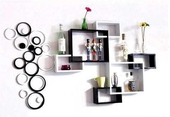 Three Piece Wall Hanging Shelf Creative Lattice Trellis Partition