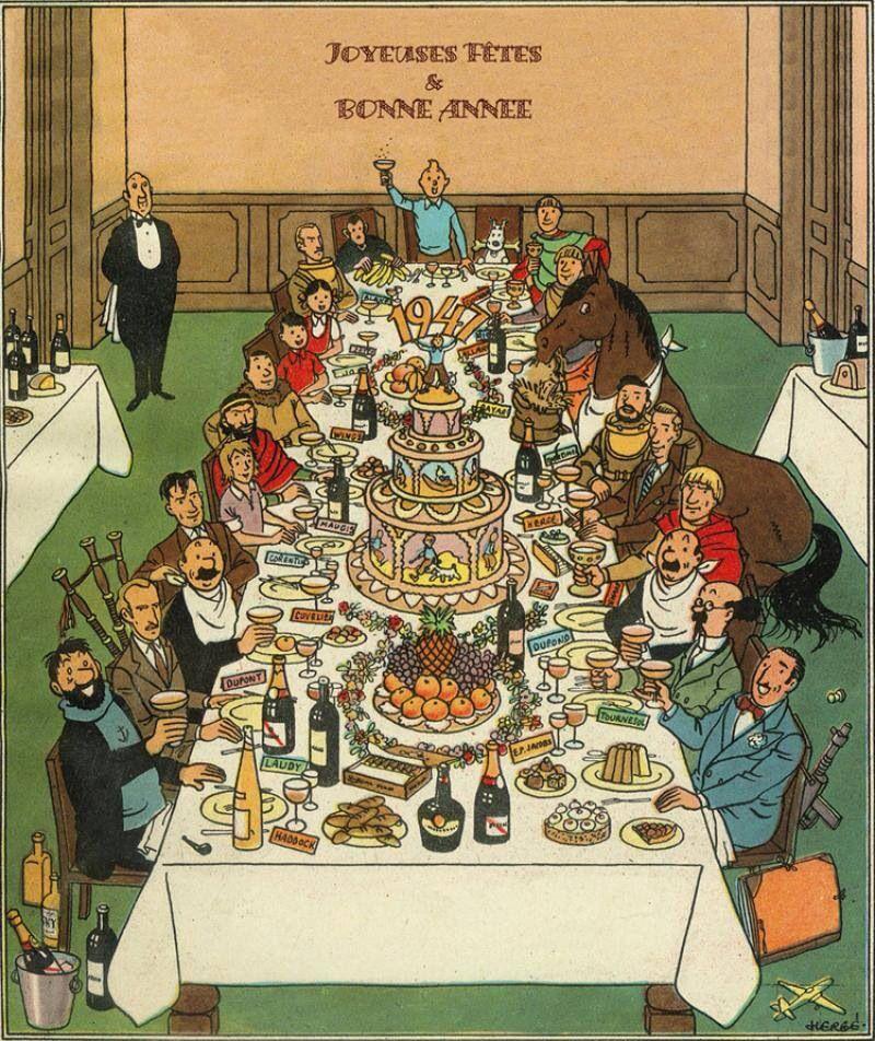 Tintin Christmas card for1947, by his creator Hergé