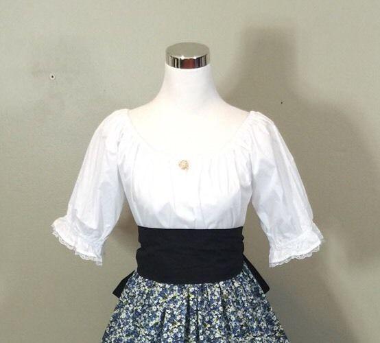 Civil War Victorian Colonial Pioneer Renaissance Pioneer Top Shirt Blouse S-2XL