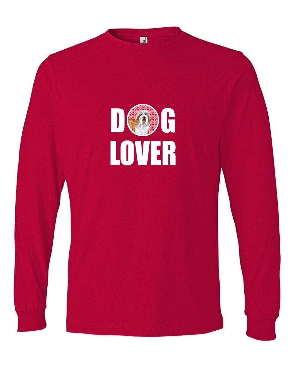 Bearded Collie Love and Hearts Long Sleeve Red Unisex
