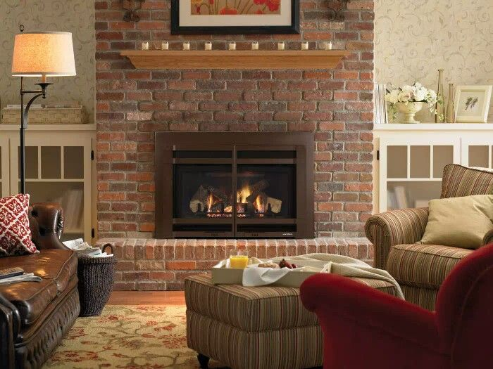 Enjoyable Ideal Red Brick Fireplace Olive Couch Brown Couch Wood Interior Design Ideas Gentotryabchikinfo
