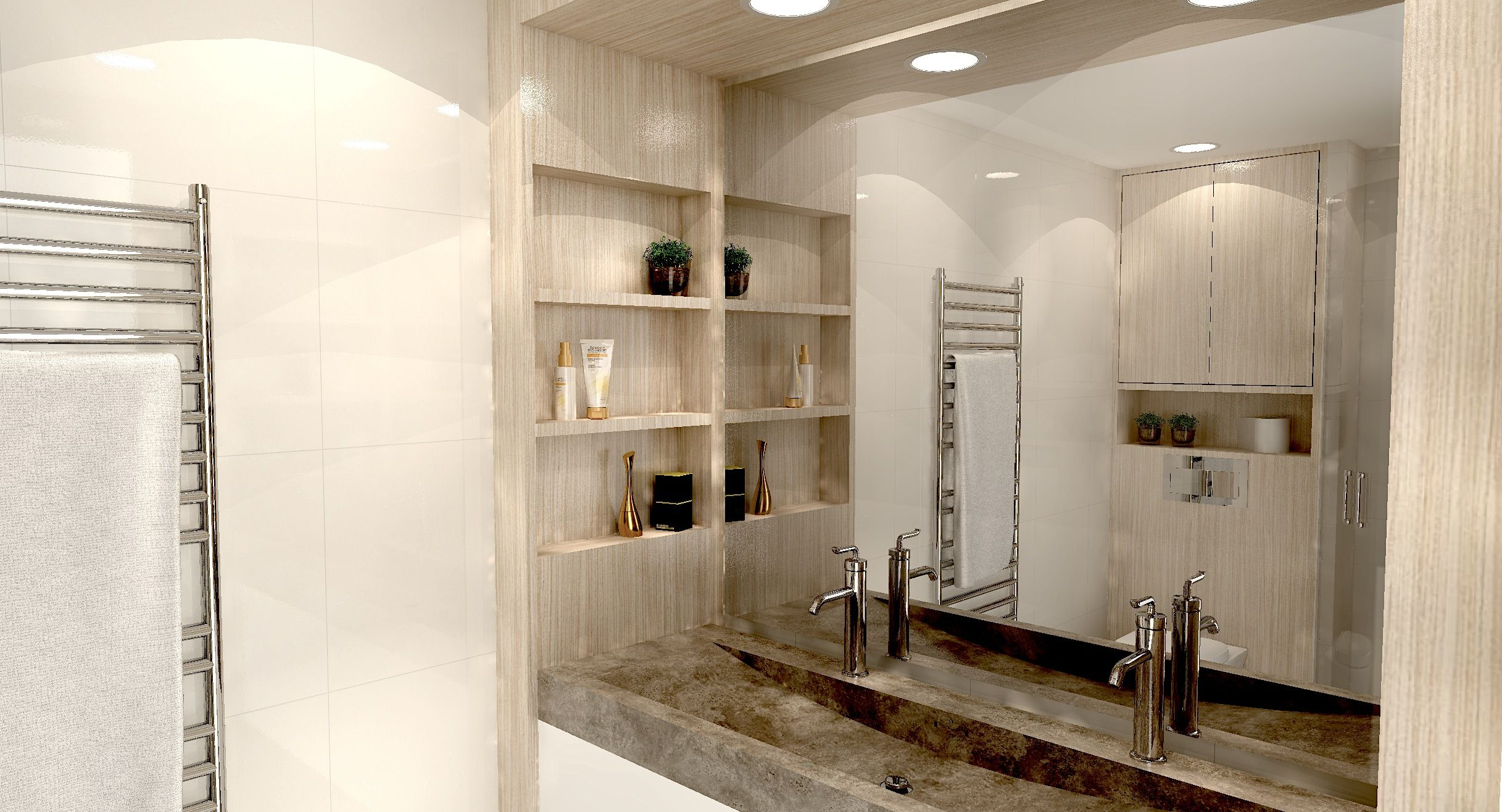 Render Of A Bathroom With Custom Made Wooden Cabinet Around