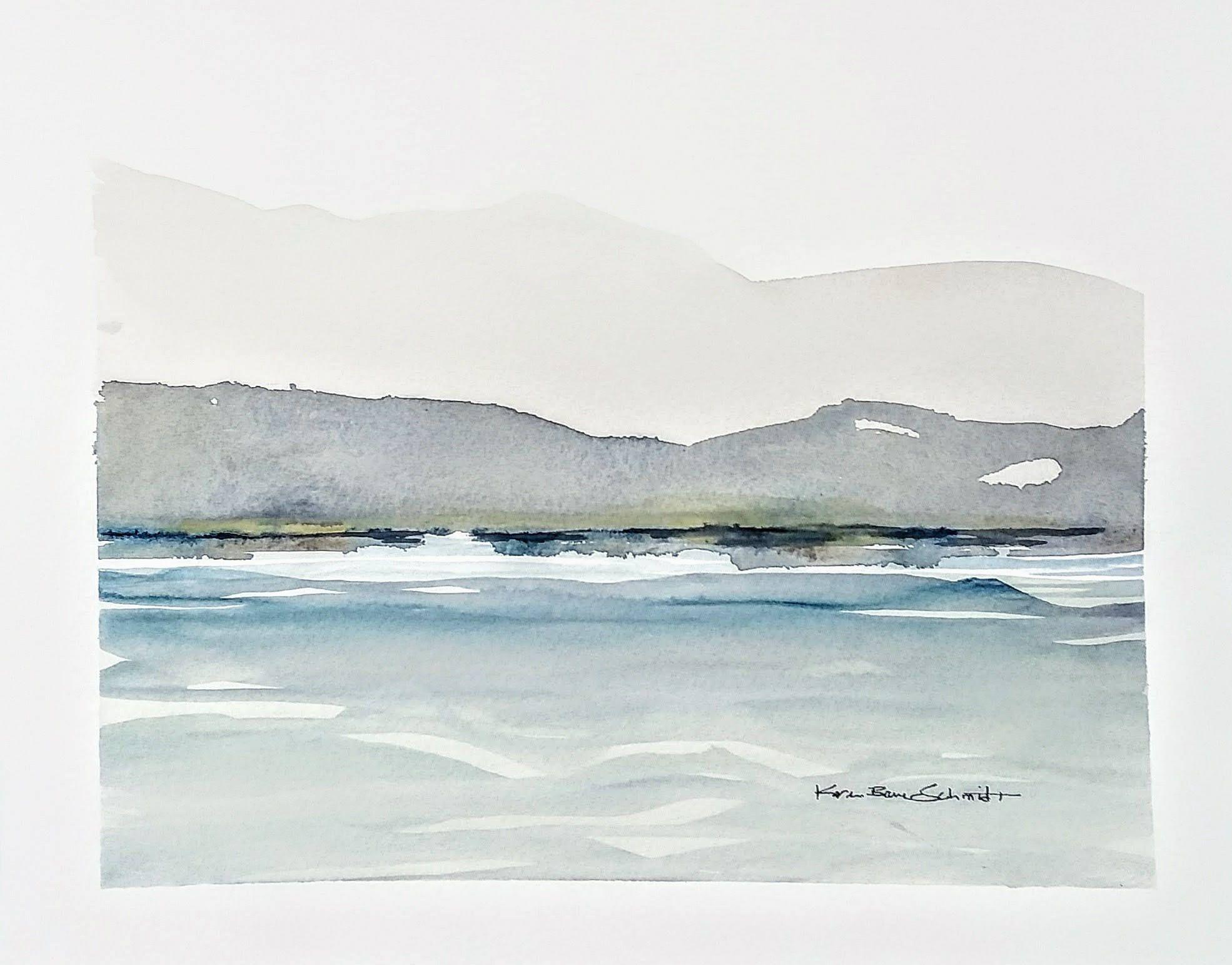 Fading Mountains Print Of Original Watercolor Minimalist Modern