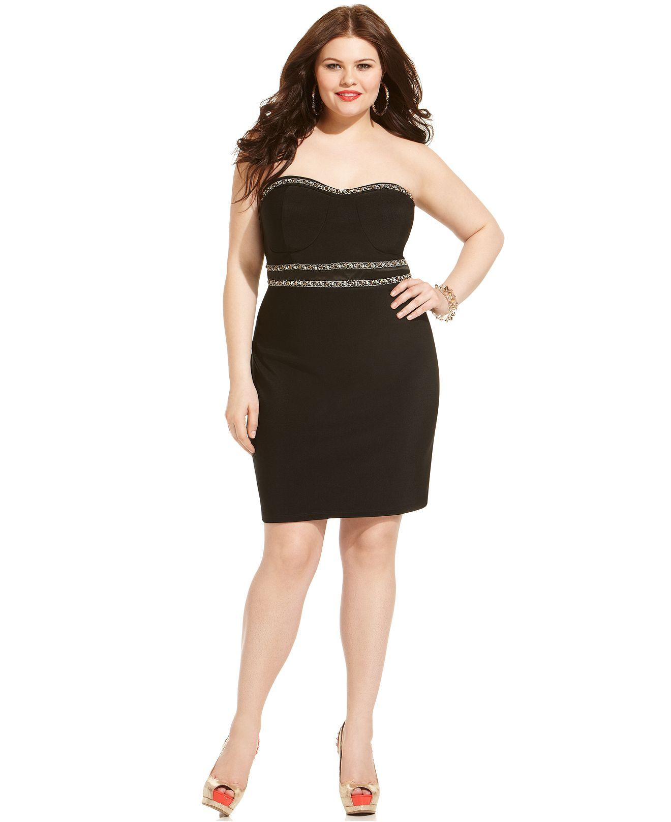 ruby rox plus size dress, strapless embellished empire - plus size