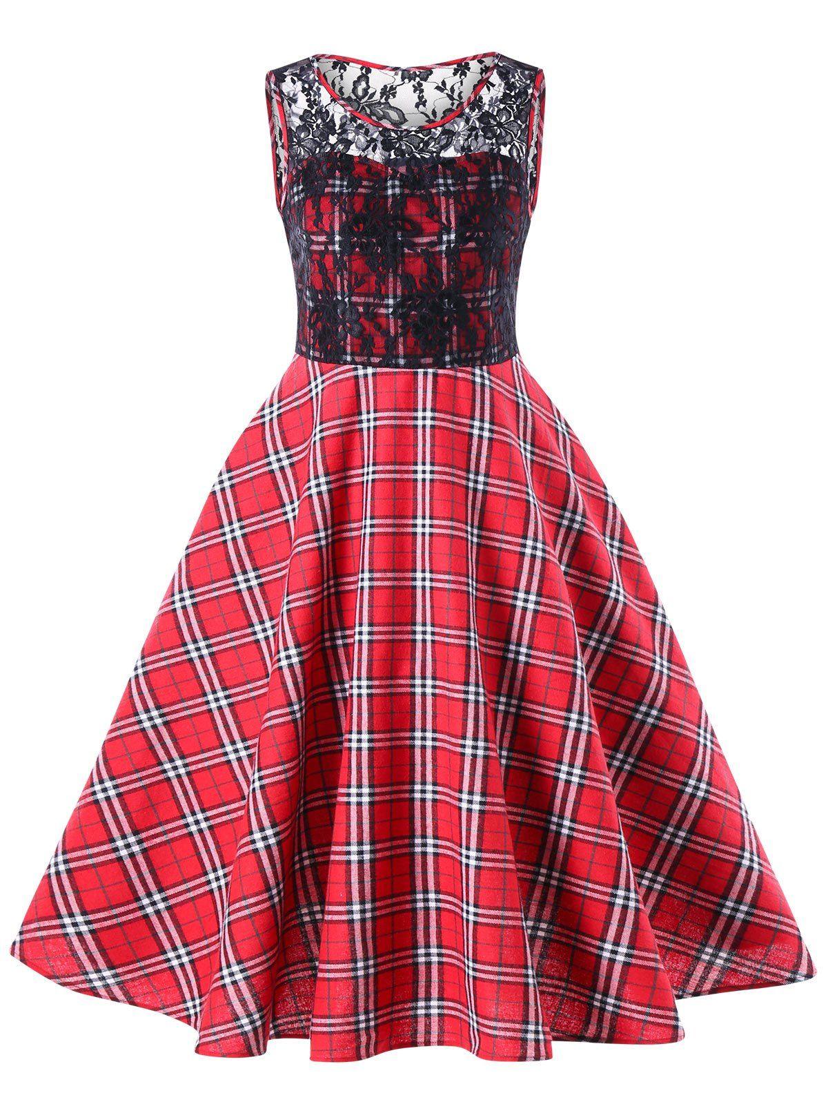 Lace Trim Plaid 50s Swing Dress   SammyDresses   Pinterest