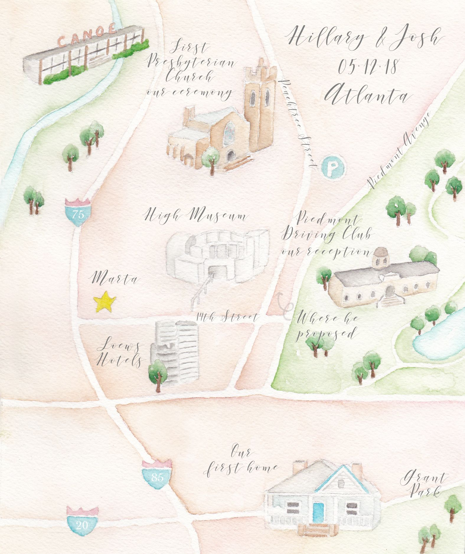 Wedding Maps Atlanta Wedding Watercolor Wedding Map